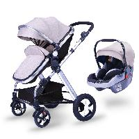 EN1888 Certificate Multi-color Optional Linen Canopy Fabric Aluminum Alloy 3 in 1 Baby Stroller with Car Seat (SF-S0808A Pro)
