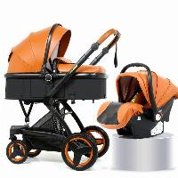 EN1888 Multi-color Optional PU Leather Canopy Fabric Aluminum Alloy Baby Stroller 3 in 1 Luxury Baby Pram  (SF-S00X6 Pro)